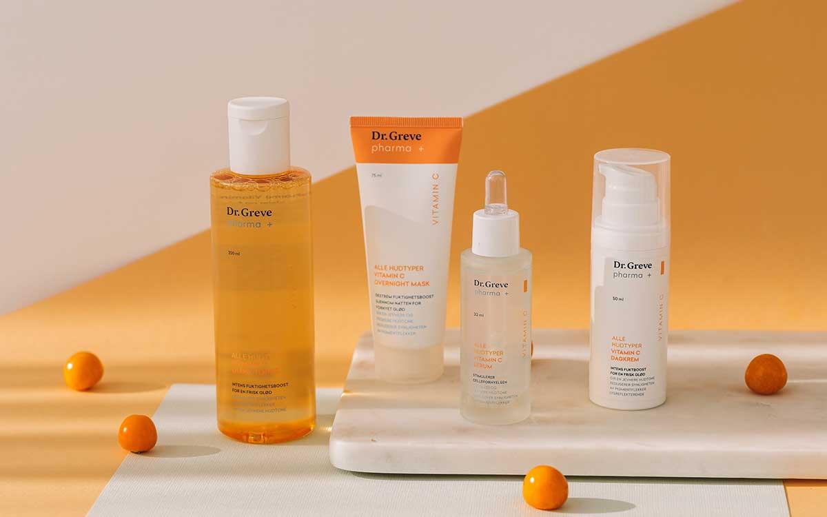 Ny hudpleieserie fra Dr. Greve pharma med vitamin C. Foto.
